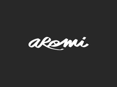 Aromi hand black writing calligraphy food brand logo aromi