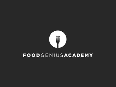 Food Genius Academy crown fork design black academy school food logo brand
