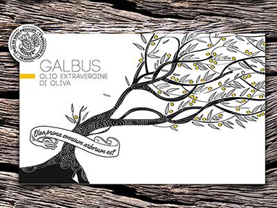Galbus / Herbesco oil packaging white black olive tree illustration italy oil design packaging