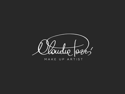 Claudia Tozzi Make Up Artist sign calligraphy design brand logo make-up artist up make