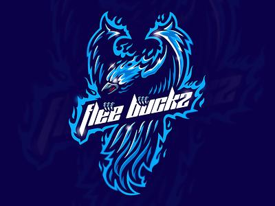 Flee Buckz sport animal bird branding vector mascot phoenix design illustration brand logo logotype