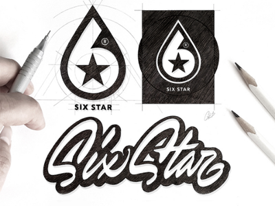 Logo Six Star design logo cannabislogo typography monogram logosketching customlettering lettering logoprocess