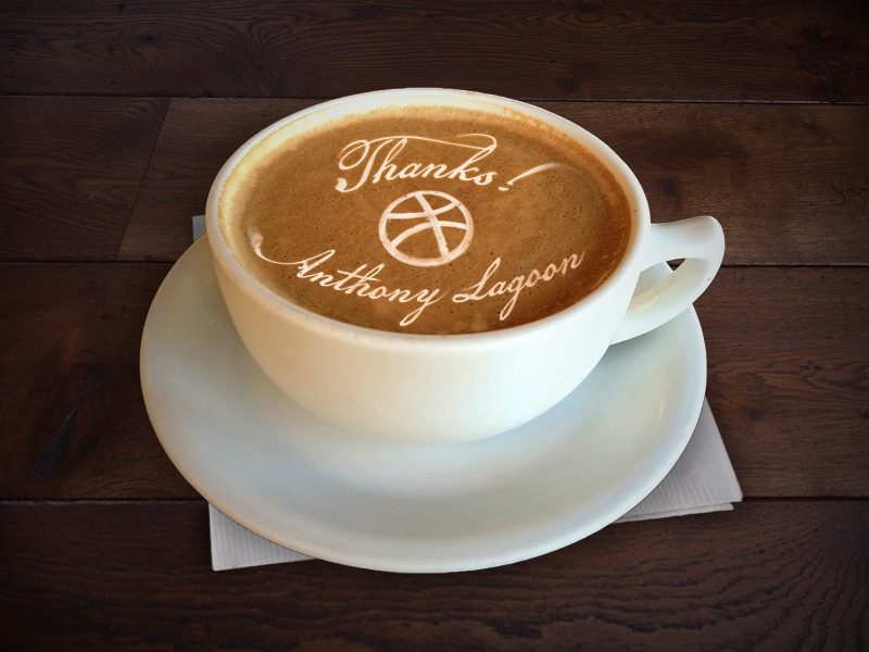 Thanks Dribbble2 thanks coffee latte art anthony lagoon stud muffin