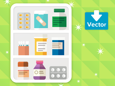 Medicine Cabinet download vector illustration health medicine
