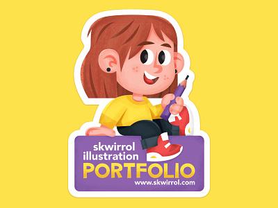 Portfolio Sticker illustration skwirrol
