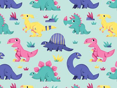 dinosaur pattern! kids art eva galesloot illustration spoonflower pattern dinosaurs skwirrol