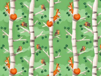 birch tree and squirrel pattern