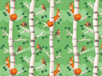 birch tree and squirrel pattern