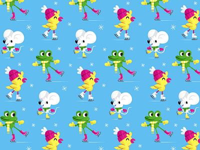 skating! character spoonflower illustration skwirrol pattern