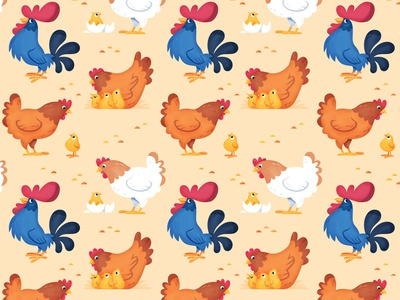 chickens and rooster pattern character illustration vector spoonflower pattern skwirrol