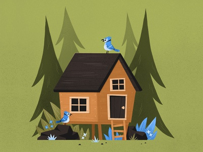 cabin cabin nature procreate eva galesloot illustration skwirrol bluebird