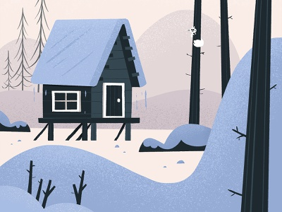 snow cabin snow procreate nature cabin eva galesloot illustration skwirrol