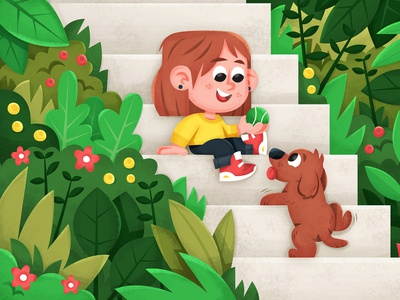 stairs! children book illustration character vector illustration skwirrol