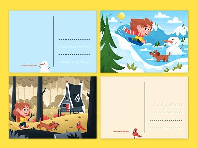 skwirrol.com postcards childrens illustration postcard design vector character eva galesloot illustration skwirrol
