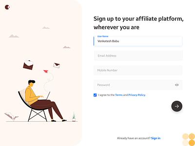 Sign up UI form product sign in signup form design form field website minimal app flat web illustration ui design