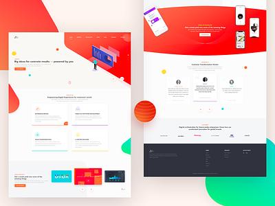 Design Agency Landing Page agency creativity testimonials mobile red digital website typography logo branding dribbble web illustration ui design