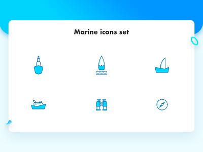 Marine Icons wave sea water binoculars ship boat direction marine flat vector icon logo branding web dribbble ui illustration design