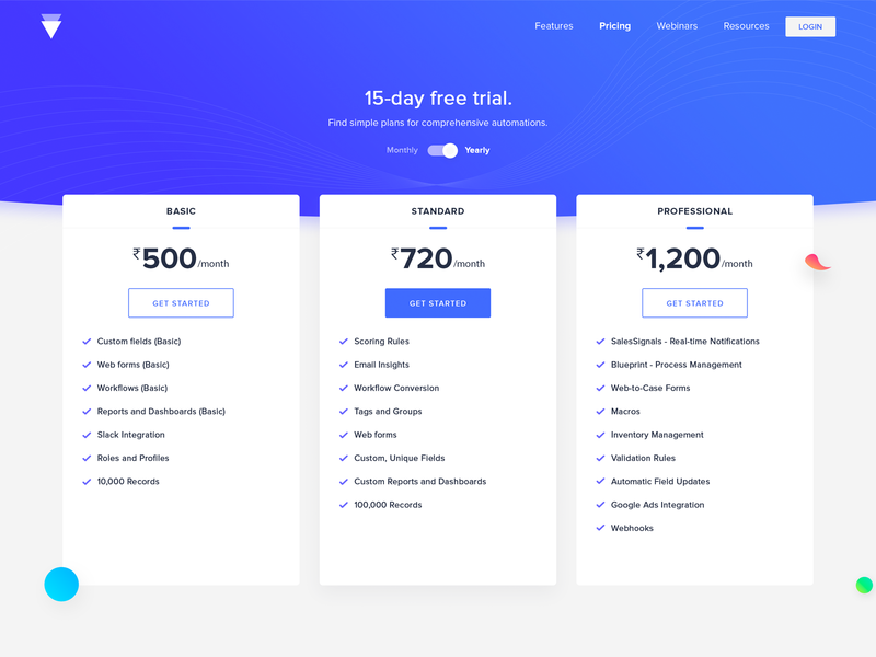 Pricing screen dribbble product blue subscription yearly monthly trial upgrade plan pricing page product page web ui design