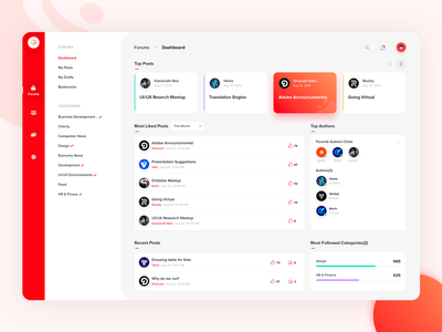 Connect the People sidebar comments like post red zoho chat people connect ux branding dribbble ui web illustration design