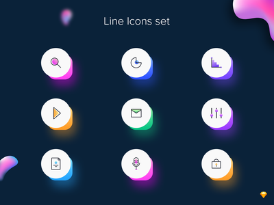 Line icon set colors security lock microphone play settings message data chart docs search sketch flat vector icon dribbble web ui illustration design