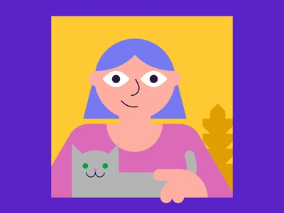 Window design illustration shapes window cat girl