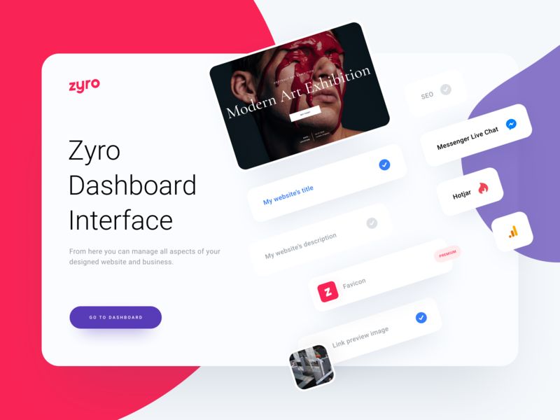 Zyro Dashboard Design light intuitive minimalist websitebuilder website favicon messenger google analytics hotjar integrations clean design minimal ux ui dashboard