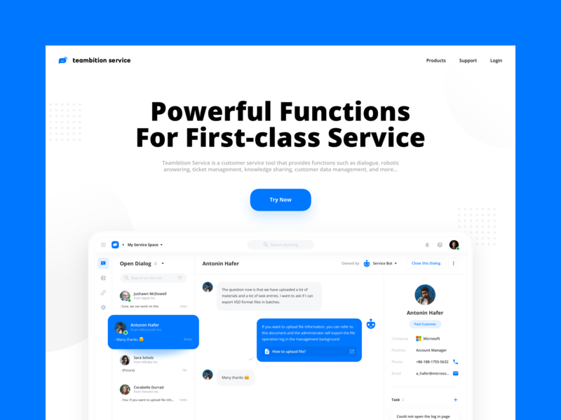 Landing page for Teambition Service customer service teambition landing page