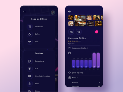 Throttle list and Preview black shading local schedule menu pink purple color design gallery dark ios app vector sketch ui kit night mode