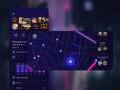 Throttle App explore city blur mobile ios restaurant poi design vector sketch map street night mode landscape app ui kit
