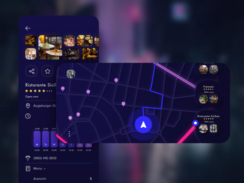 Throttle App explore city blur mobile ios restaurant poi design vector sketch map street night mode landscape app ui kit