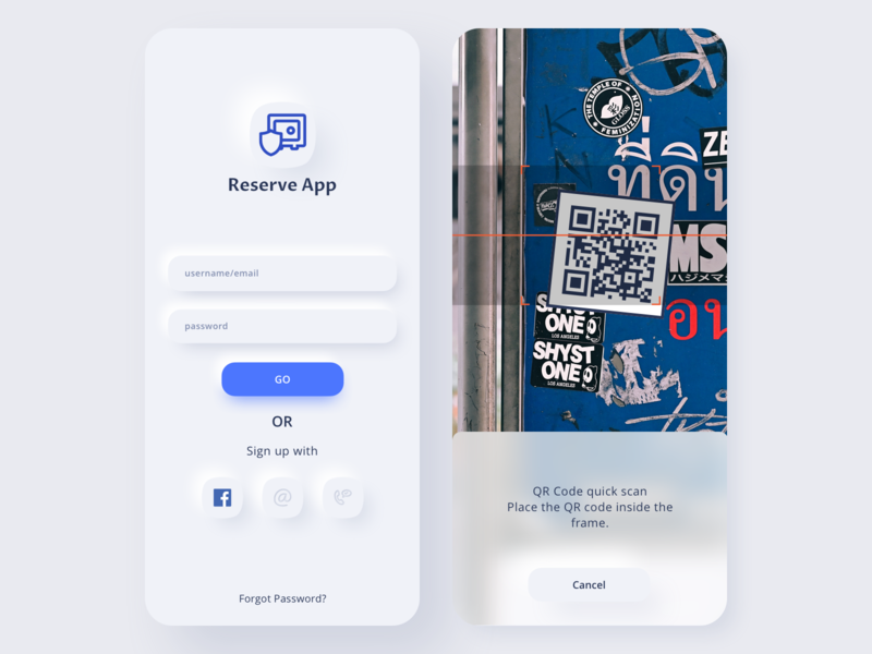 Reserve App qr code scan login card commerce white blue color sketch wallet ui kit payment shopping finance banking ios neuomorphic neuomorphism camera app