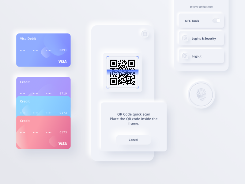 Reserve App UI Kit finance commerce fintech payment button fingerprint card credit scan qr code pink purple blue white skeuomorphic vector neumorphic sketch app ui kit