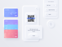Reserve App UI Kit finance commerce fintech payment button fingerprint card credit scan qr code pink purple blue white skeuomorphic vector neumorphic sketch app ui kit