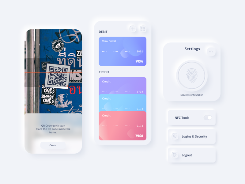 Reserve Preview #3 sketch scan qr code camera skeuomorph neumorphism white blue mobile fintech payment funds money credit card menu button fingerprint ios app ui kit