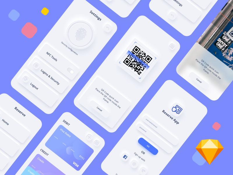 Reserve App Diagonal neumorphic camera fingerprint account card qr code scan transfer money payment finance fintech ios blue vector color sketch app ui kit design