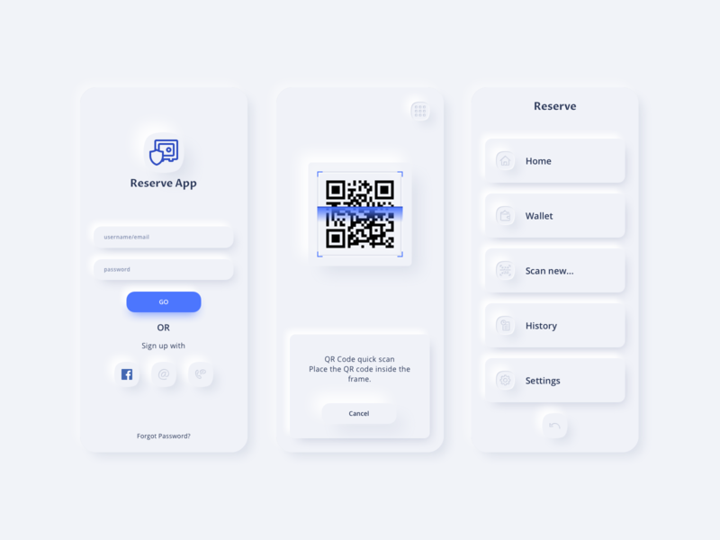 Welcome Reserve App UI Kit white design card text input wallet login menu scan qr code financial skeumorphic neumorphic app vector sketch ui kit fintech payment mobile