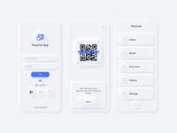 Welcome Reserve App UI Kit white design card text input wallet login menu scan qr code financial skeumorphic neumorphic app vector sketch ui kit fintech payment mobile