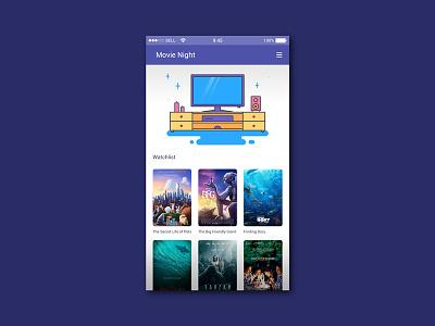 Movie Night App UI list tarzan finding dory bfg the secret life of pets ui kit app cinematography movie