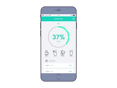 Hydrate App UI color glow neon fitness fit drink water app ui kit
