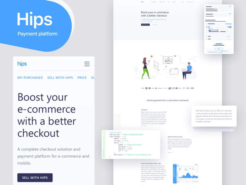Hips - Payment platform for e-commerce and mobile landing iphonex website web vector ux type ios flat design app ui branding redesign illustration