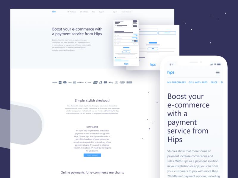 Hips - Merchant page e-commerce type flat web website vector ux ui iphone x ios design branding redesign app