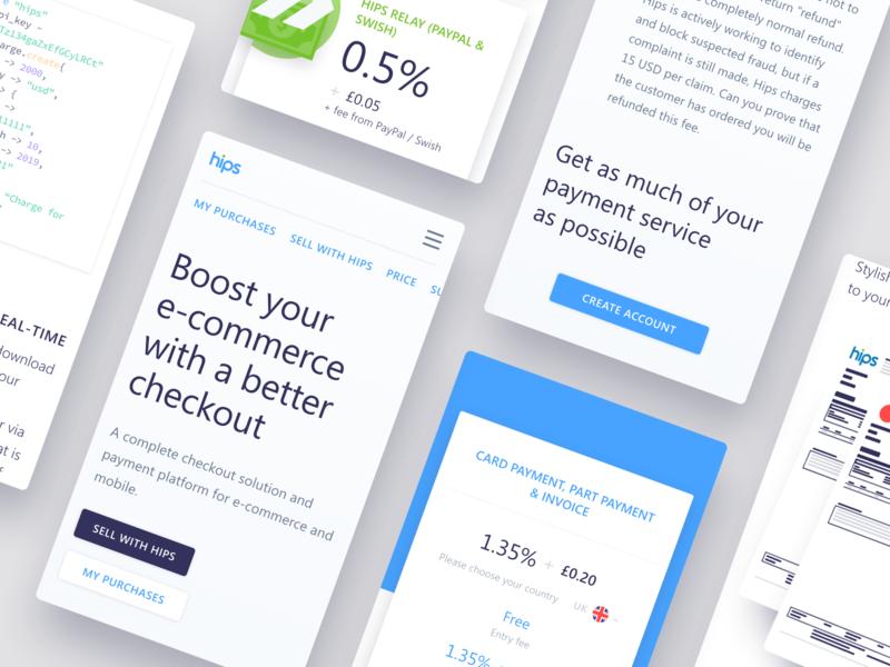 Hips - Mobile pages website vector ux ui payment e-commerce type iphonex ios flat design branding app