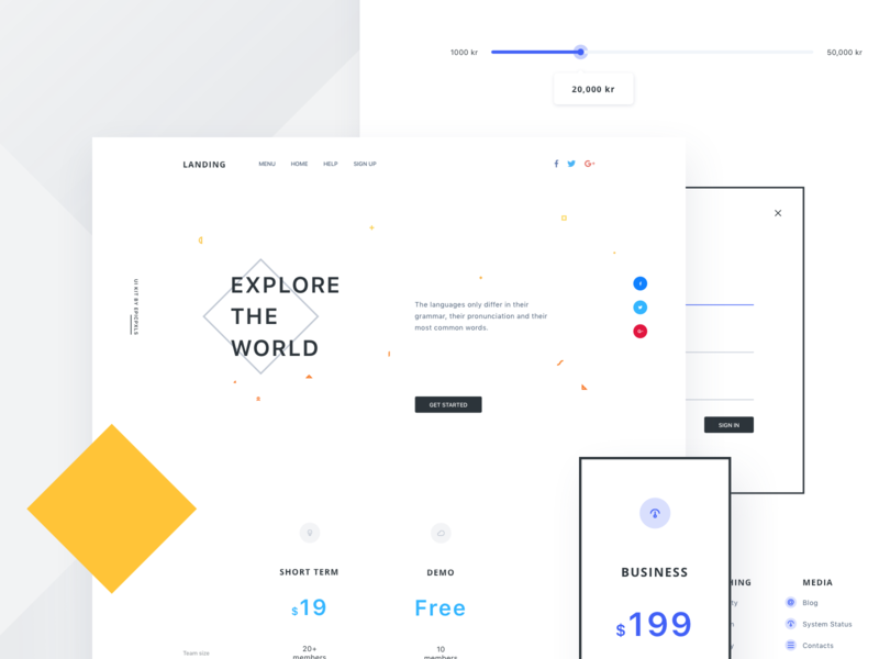 Page made with Landing Page Builder Kit color payment shop ecommerce kit fullpage header pricing white website ui minimal flat