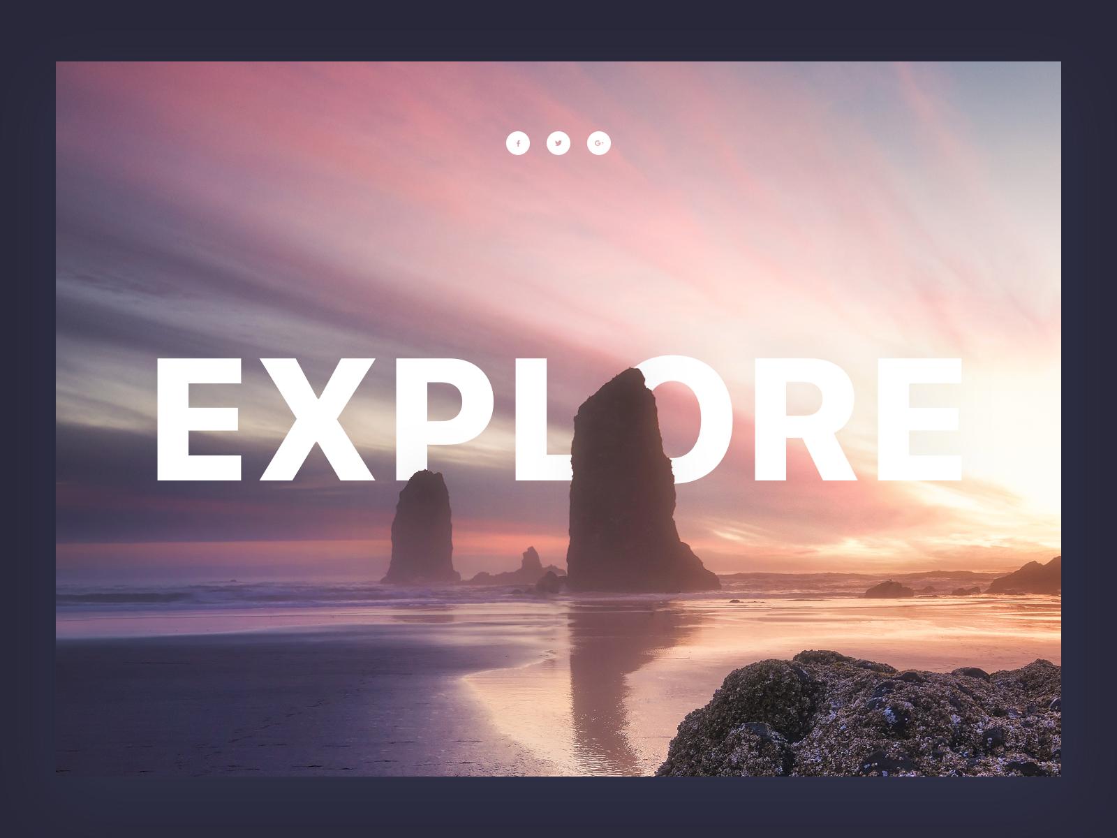 Landing Page Builder Section island tourist travel social media buttons ui kit inspirational section header typografy text cutout design landscape
