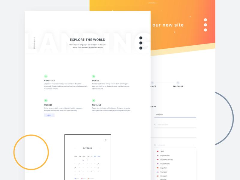 A couple of Landing Pages orange color landing page form gradient list bullet calendar ui vector web ui kit