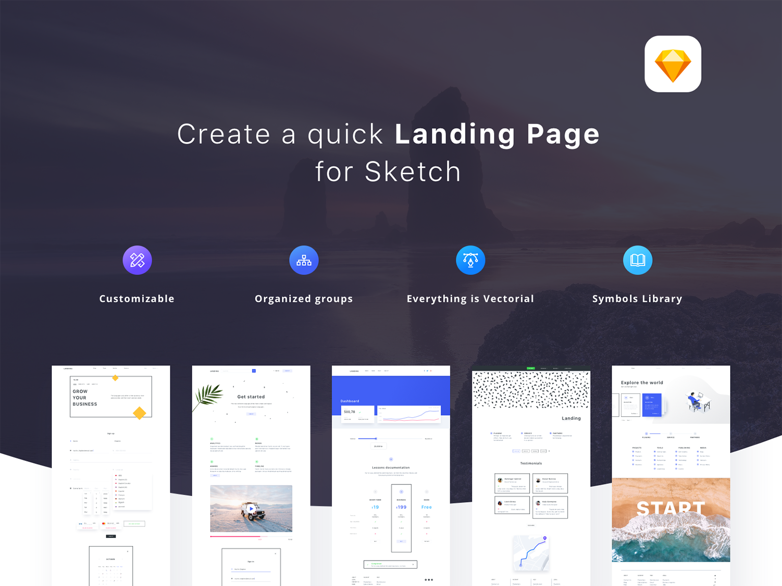 Full page of elements from Landing Page Builder color white black minimal landing page web ui elements resources set collection sketch vector