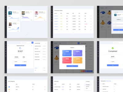 Nine pages from POS App UI
