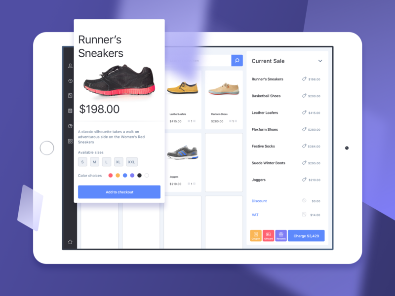 Item quick view on iPad - POS App UI purple pos colors ipad app shop retail sketch ux ui fashion shoes