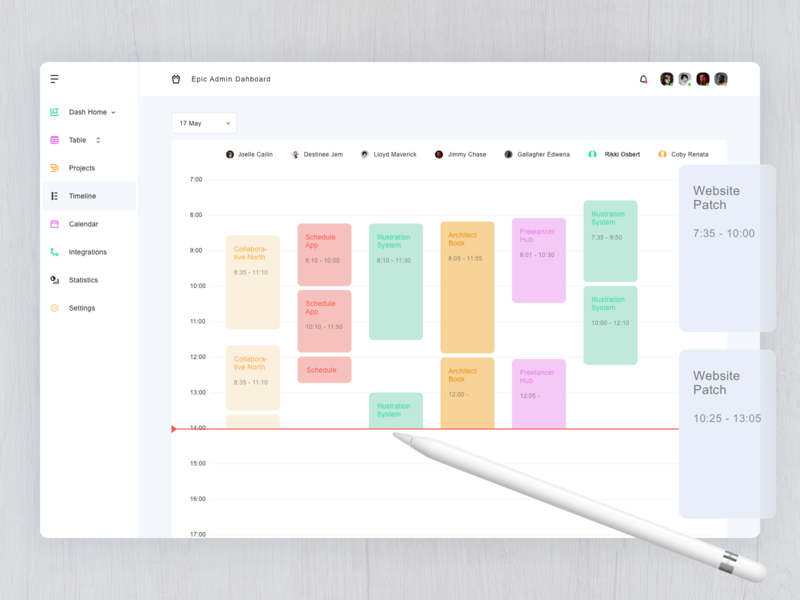 Timeline Page - Admin Dashboard apple pencil website web ux ui minimal ipad ios flat design dashboard color clean app vector sketch icon graphic design concept branding