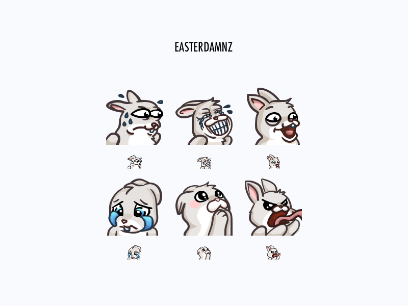 Easterdamnz Twitch Emotes pepe rage pog kek emote bunny icons graphic design gaming drawing cute creative concept color cartoon character design character art twitch illustration